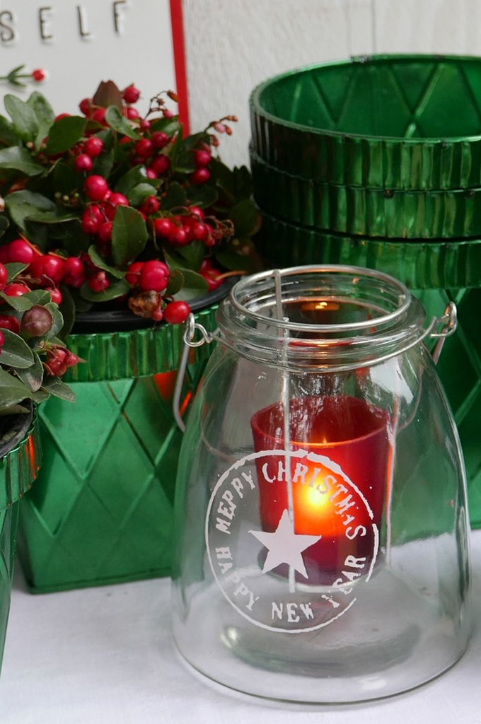 Windlicht +Merry Christmas*, Glas